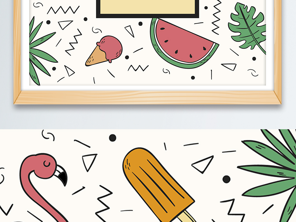 小清新手绘ins风热带雨林夏天火烈鸟插画图片设计素材