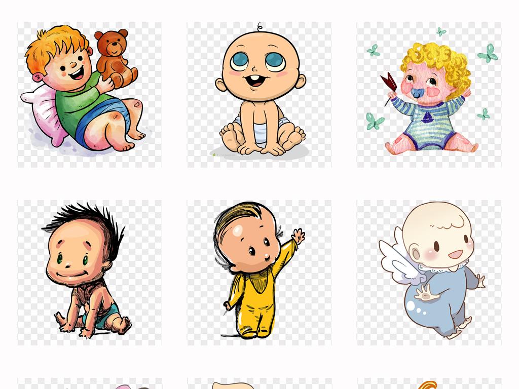 可爱卡通儿童手绘婴儿小孩母婴海报设计png素材