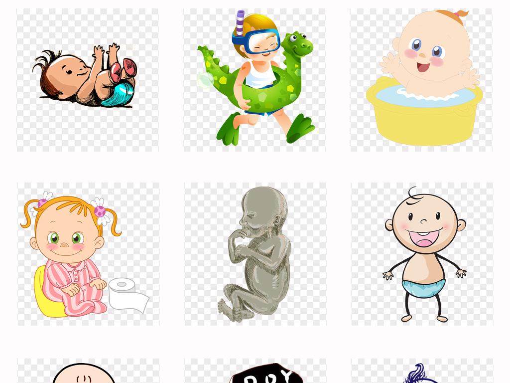 可爱卡通儿童手绘婴儿小孩母婴海报设计png素材图片 模板下载 15.83
