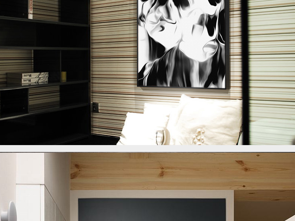 现代家庭室内客厅手绘装饰画黑白图片素材