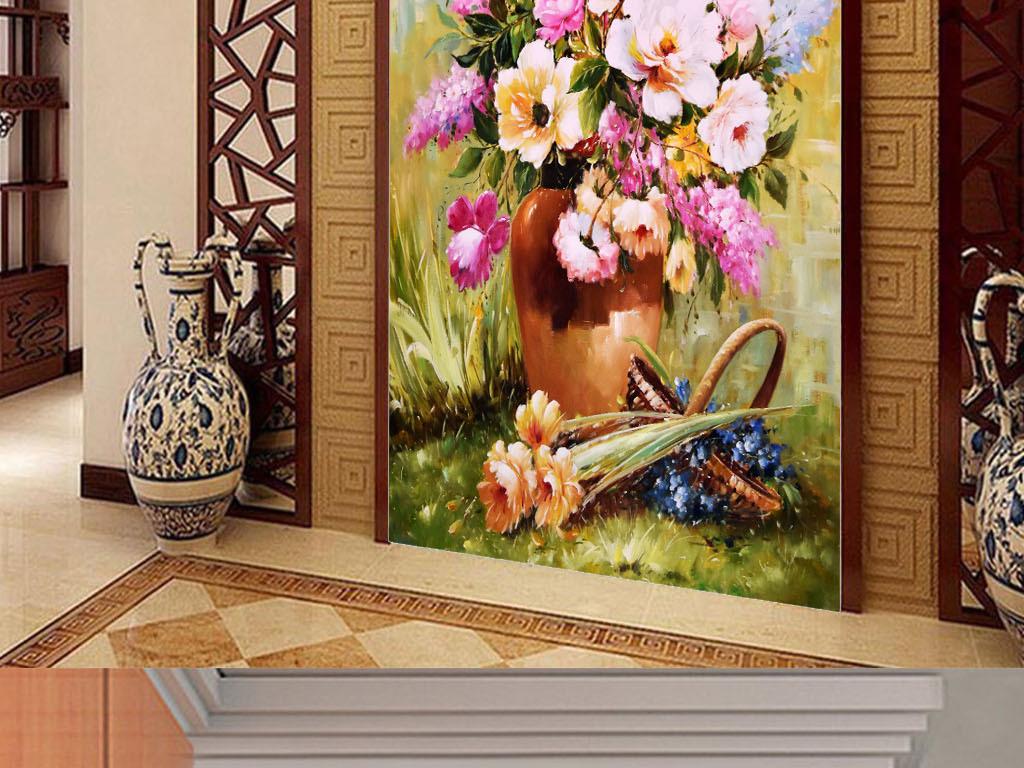 高清手绘牡丹花花开富贵油画玄关