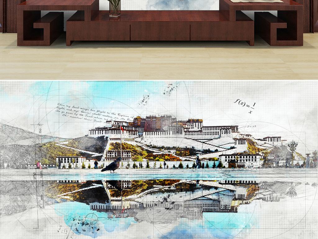背景墙 电视背景墙 电视背景墙 > 手绘布达拉宫线稿  素材图片参数