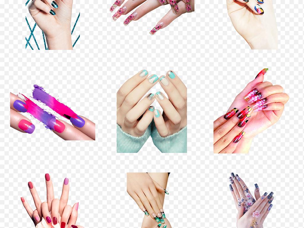 卡通手绘指甲油美甲美容化妆品海报素材背景png
