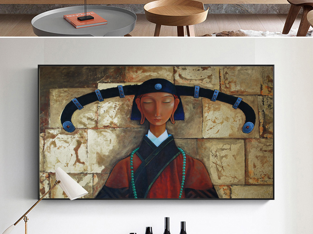 手绘蒙古族女人油画民俗装饰画无框画