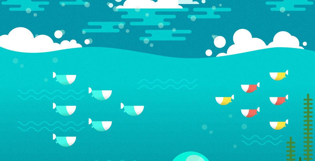 手绘卡通扁平化风格太空海底世界创意绘画