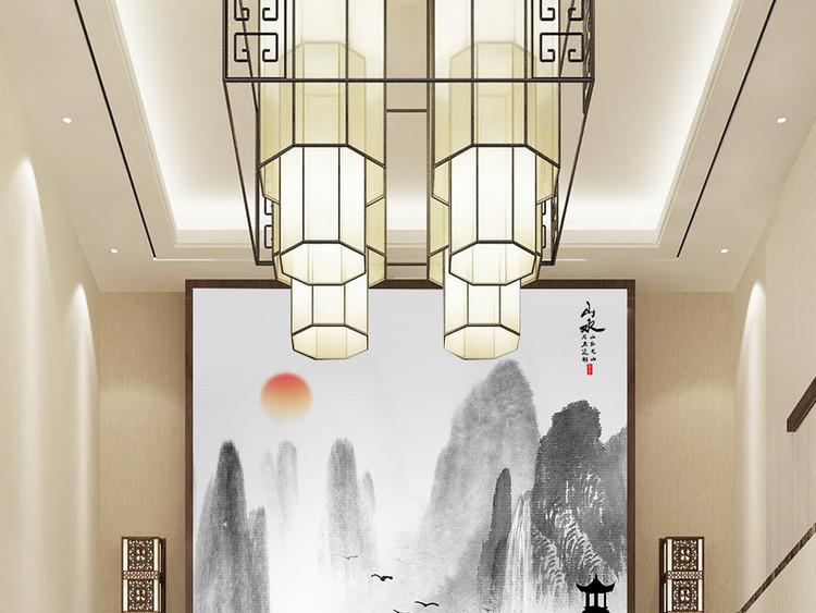 新中式山水情意境水墨山水玄关背景墙装饰画