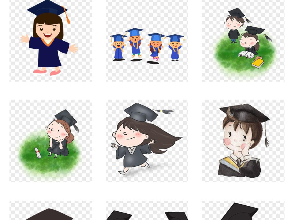 50款卡通可爱小博士博士帽毕业png免扣素材