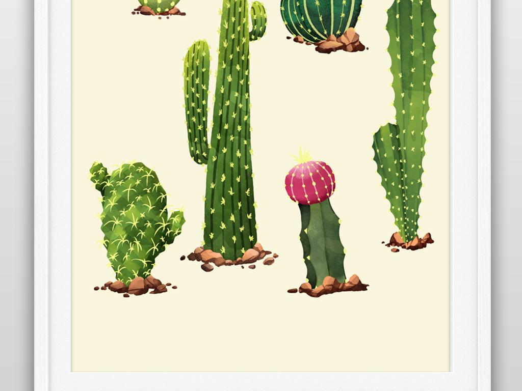 小清新手绘水彩植物仙人掌