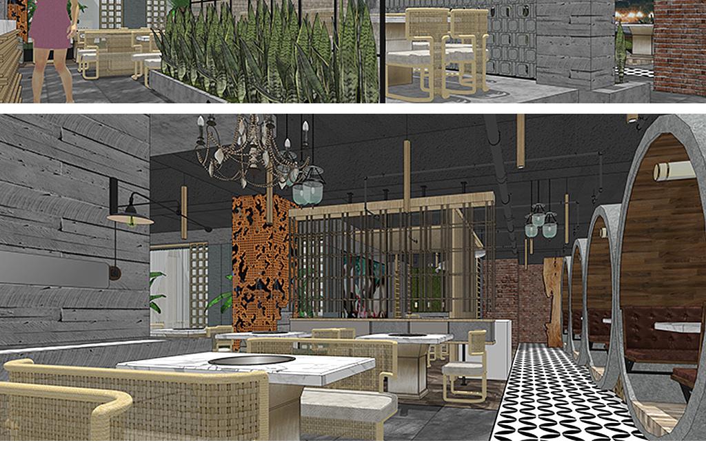 复古工业风酒吧咖啡厅su模型