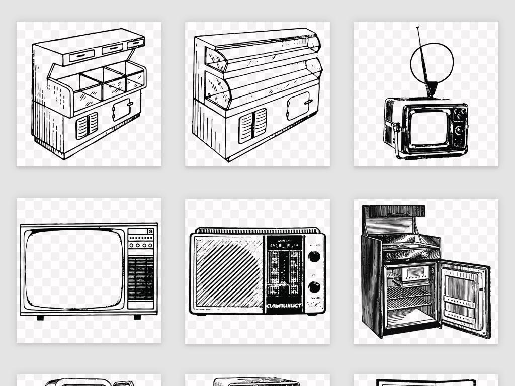 高清手绘线稿家电电器png素材