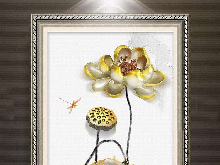 立体浮雕金色荷花新中式水墨画玄关背景墙壁画