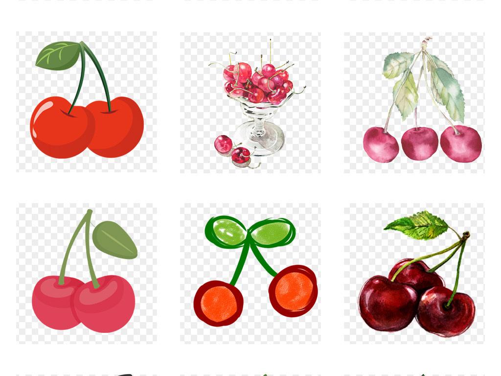 卡通手绘樱桃水彩樱桃车厘子水果插画png免扣素材