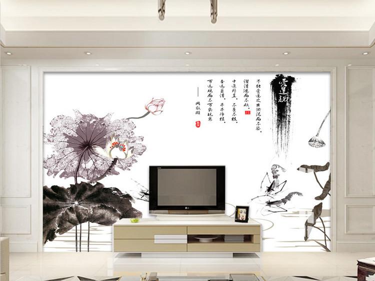 新中式水墨荷花爱莲说电视背景墙