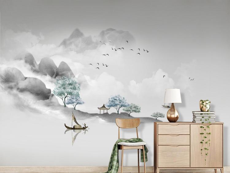 新中式意境简约水墨山水客厅背景墙壁画