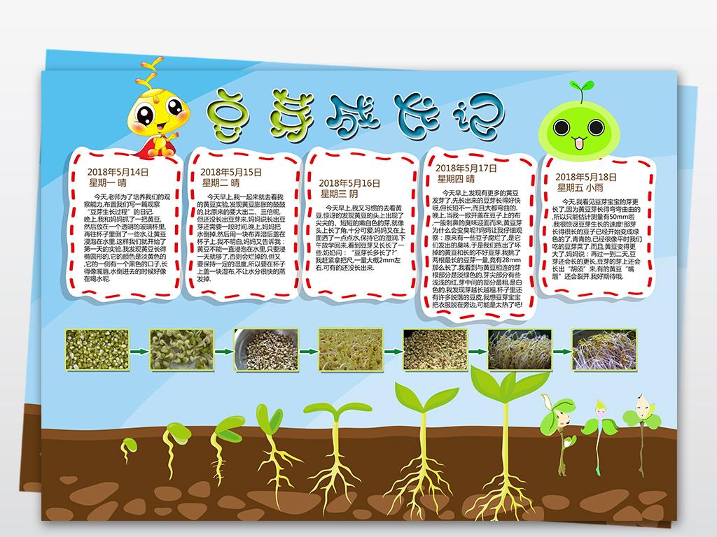 豆芽成长记植物生长小报手抄报psd模板