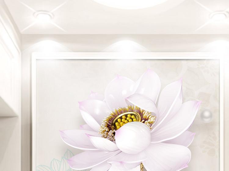 新中式3D立体浮雕荷花素雅简约玄关装饰画