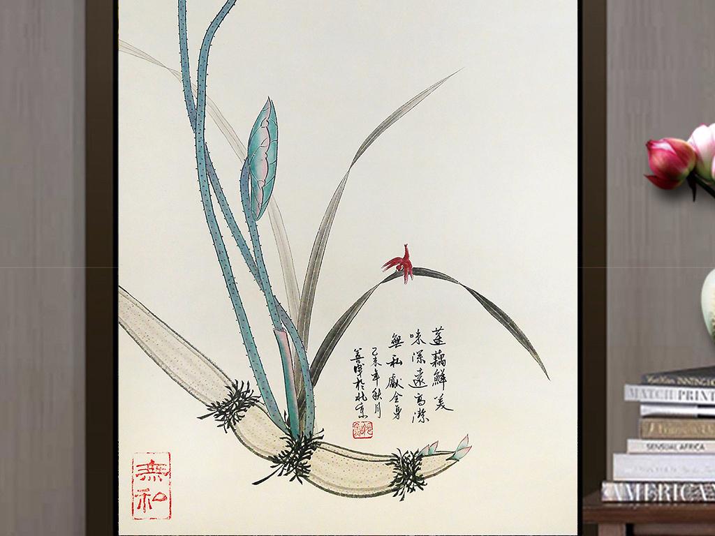 新中式手绘小清新禅意水墨荷花玄关装饰画