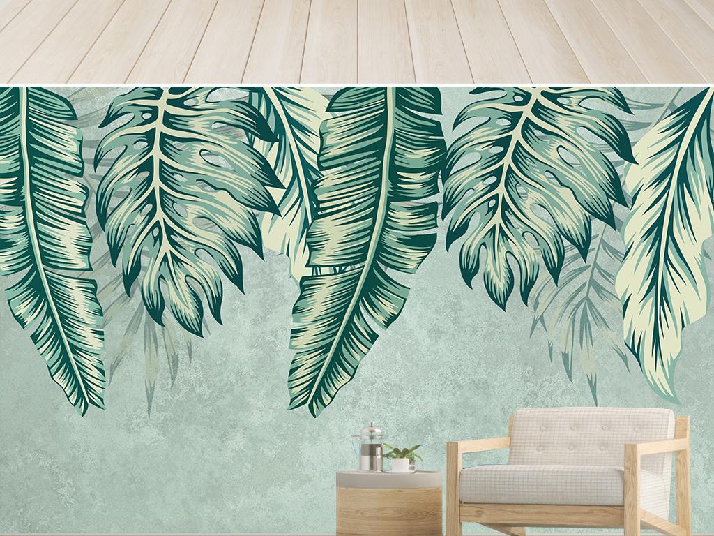现代小清新植物背景墙植物装饰壁画图片