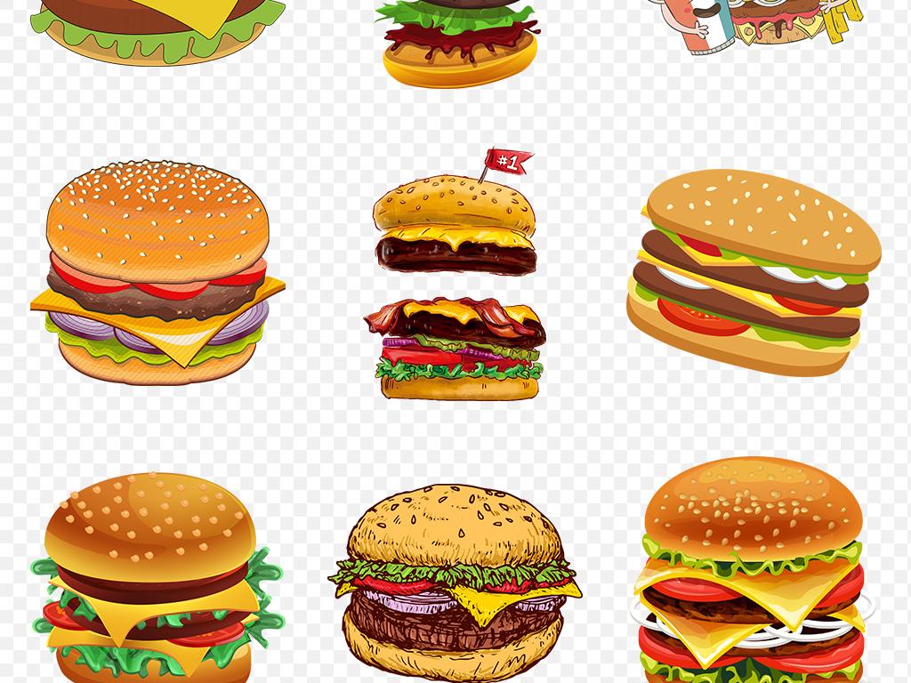 免扣元素 生活工作 食物饮品  > 手绘麦当劳肯德基汉堡插图海报素材图片