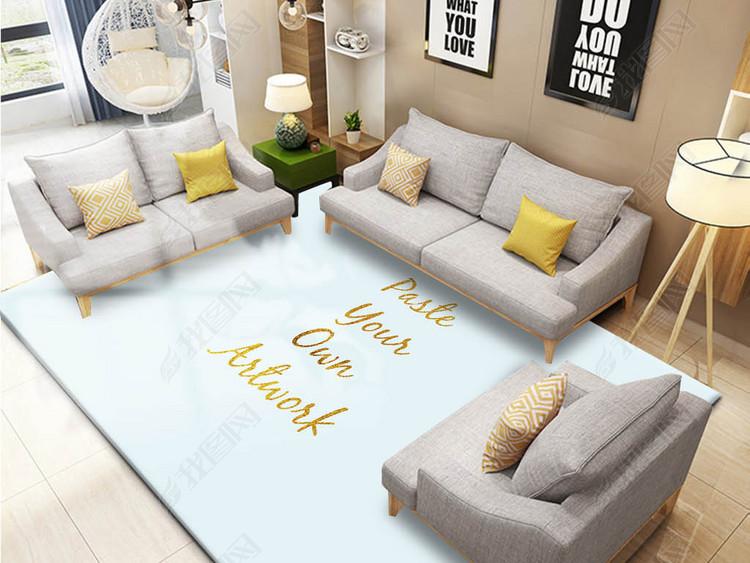 北欧现代大厅地毯样机贴图效果图场景