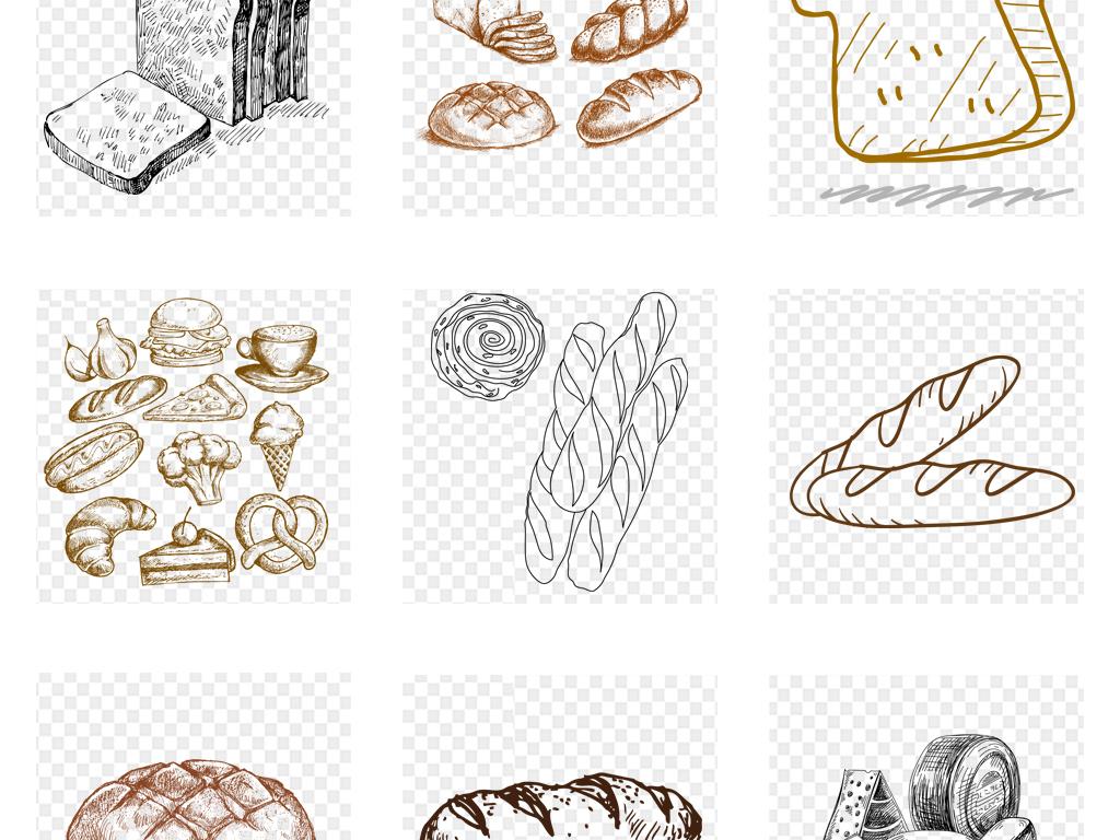 免扣元素 生活工作 食物饮品  > 手绘线稿蛋糕面包甜品海报设计png免