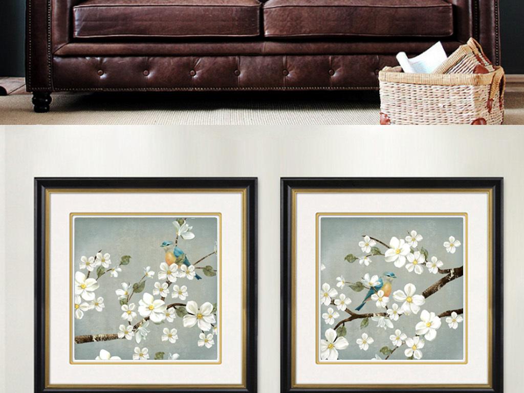 美式乡村花鸟手绘复古抽象油画客厅装饰画图片