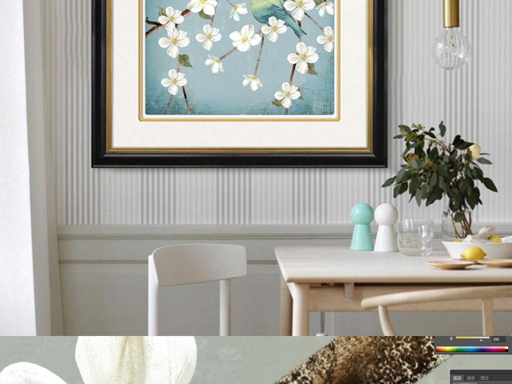 美式乡村花鸟手绘复古抽象油画客厅装饰画