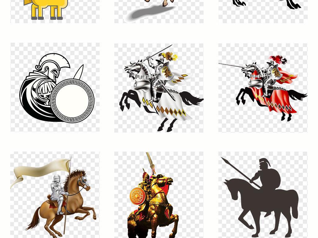 古代骑马卡通英勇善战骑士骑兵png素材图片