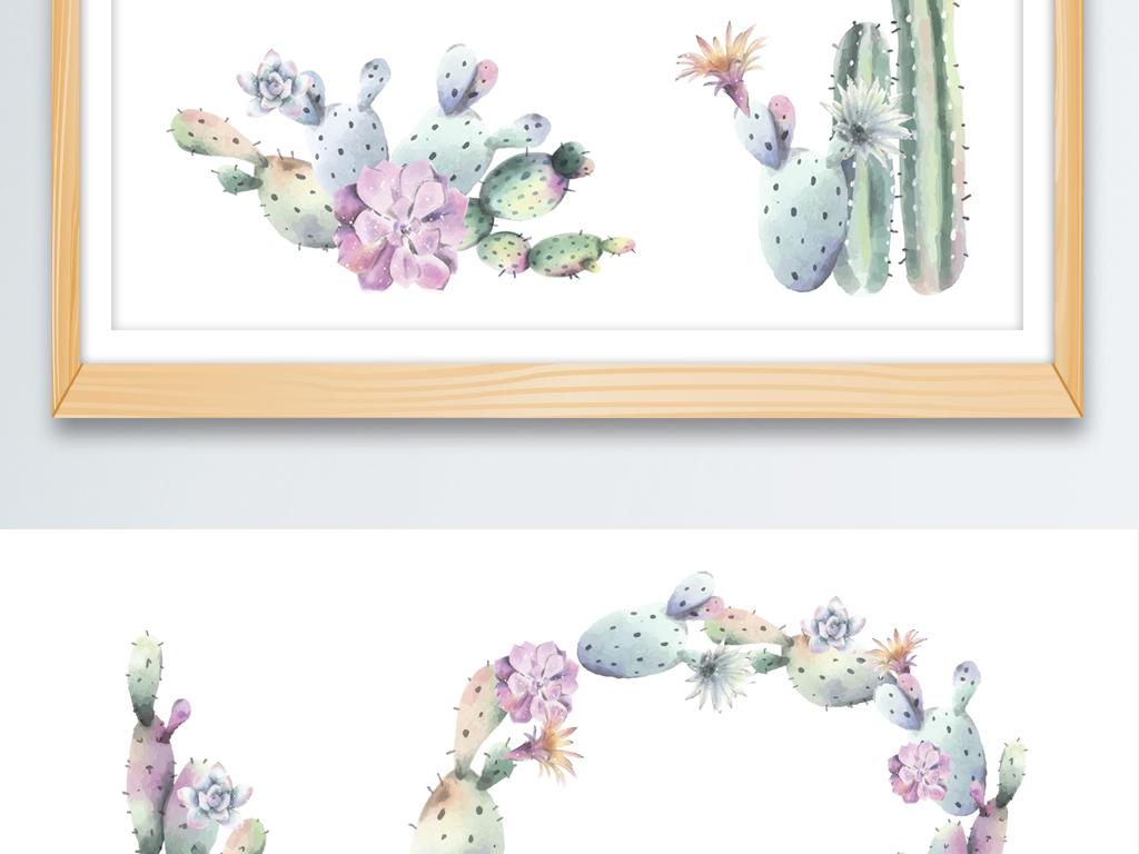 手绘水彩创意仙人掌插画