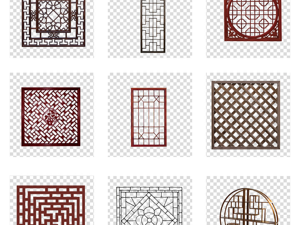 新中式中国风古代雕花窗户屏风png素材图片