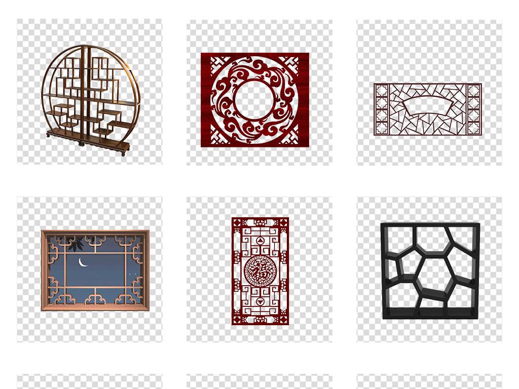 新中式花窗古代雕花窗户屏风png素材图片