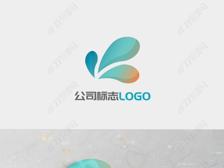 蓝色渐变飞溅水滴企业LOGO标志设计