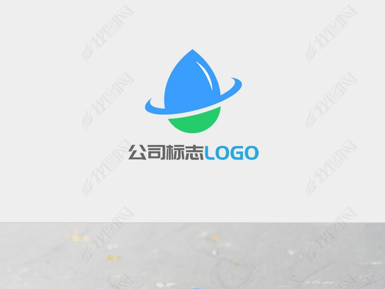 蓝色绿色圆环水滴企业LOGO标志设计