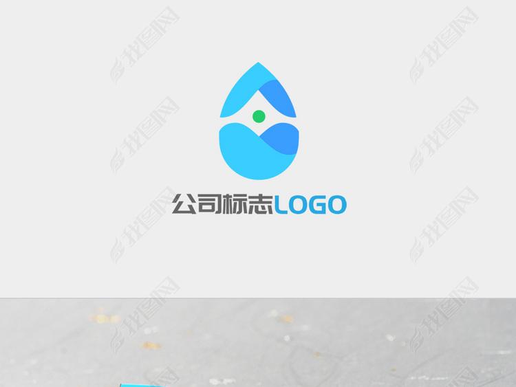 创意圆弧蓝色水滴企业LOGO标志设计