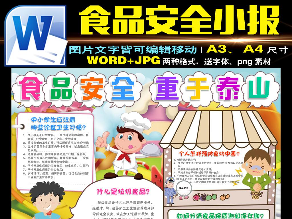 word食品安全小报校园饮食健康安全手抄报素材