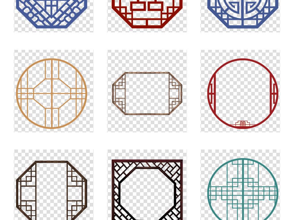 免扣元素 花纹边框 中国风边框 > 手绘中式古典窗格花格花窗边框图案
