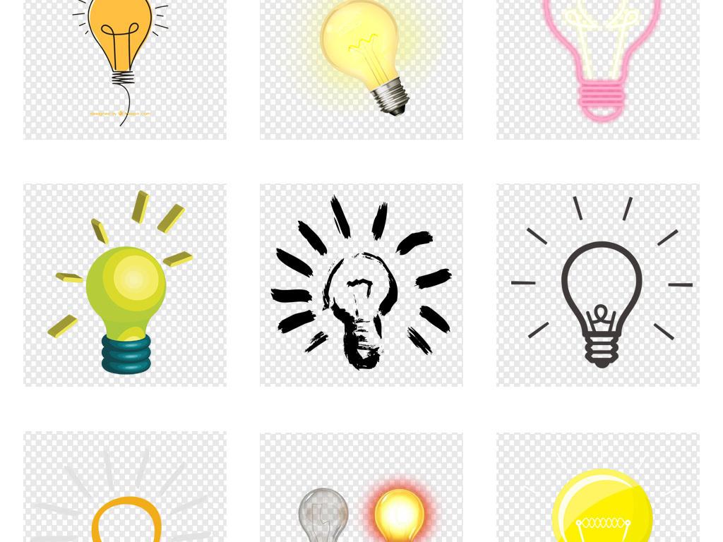 卡通手绘创意发光灯泡设计png素材图片