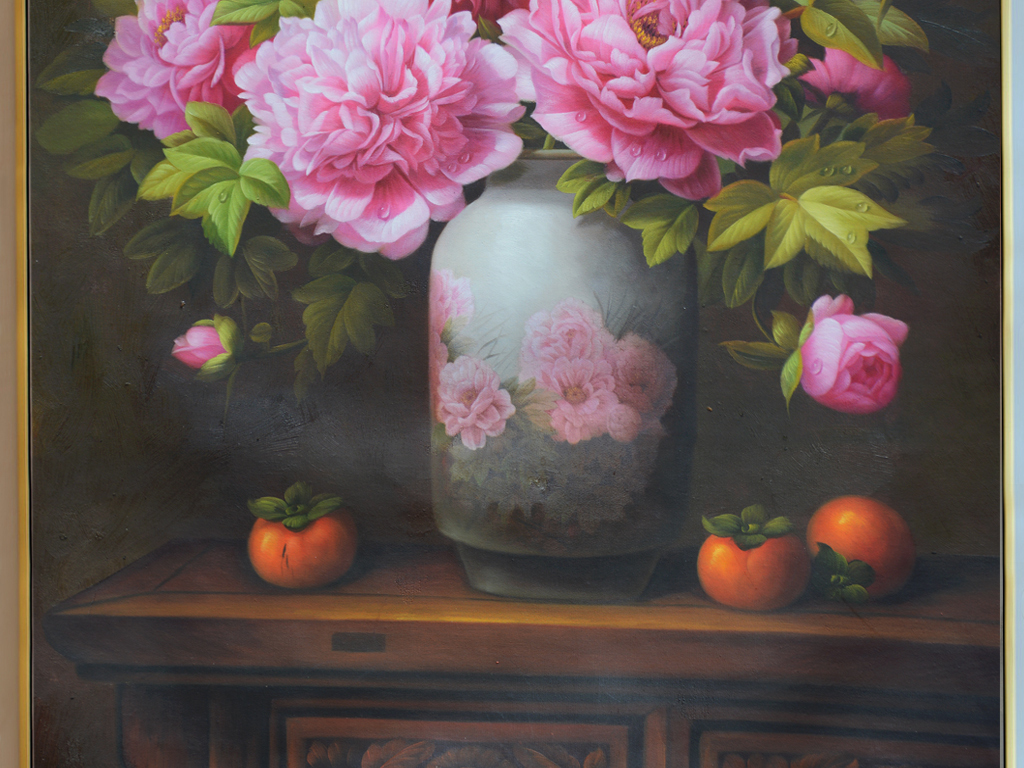 纯手绘古色古香花卉静物油画艺术玄关