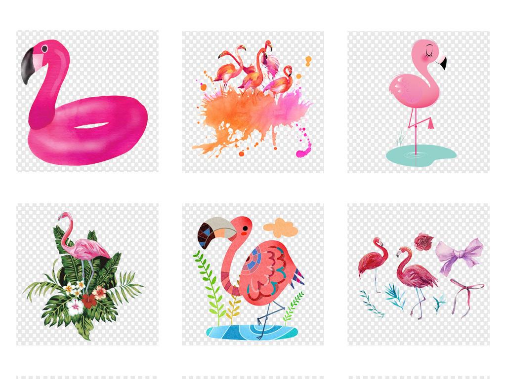 免抠元素 花纹边框 其他 > ins水彩手绘现代简约花卉火烈鸟北欧png