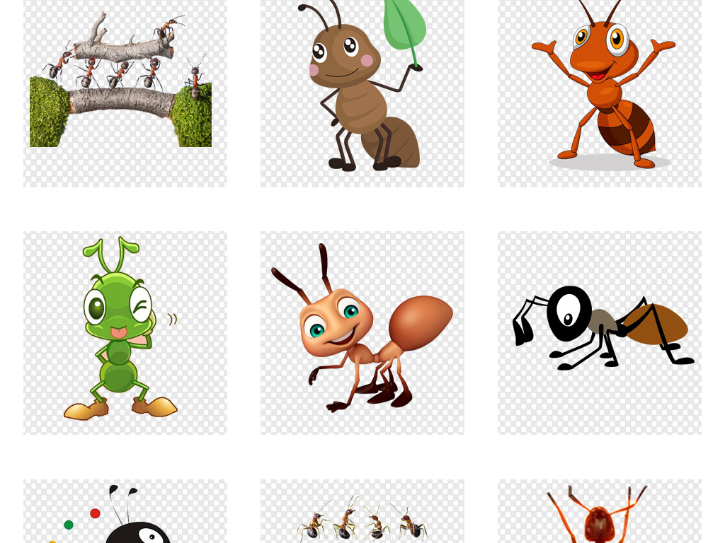 素材可爱蚂蚁动物图片png海报鲨鱼自卫攻击卡通图片