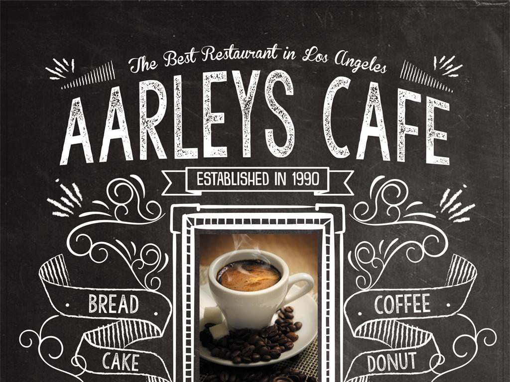 创意黑板手绘咖啡菜单美食宣传海报