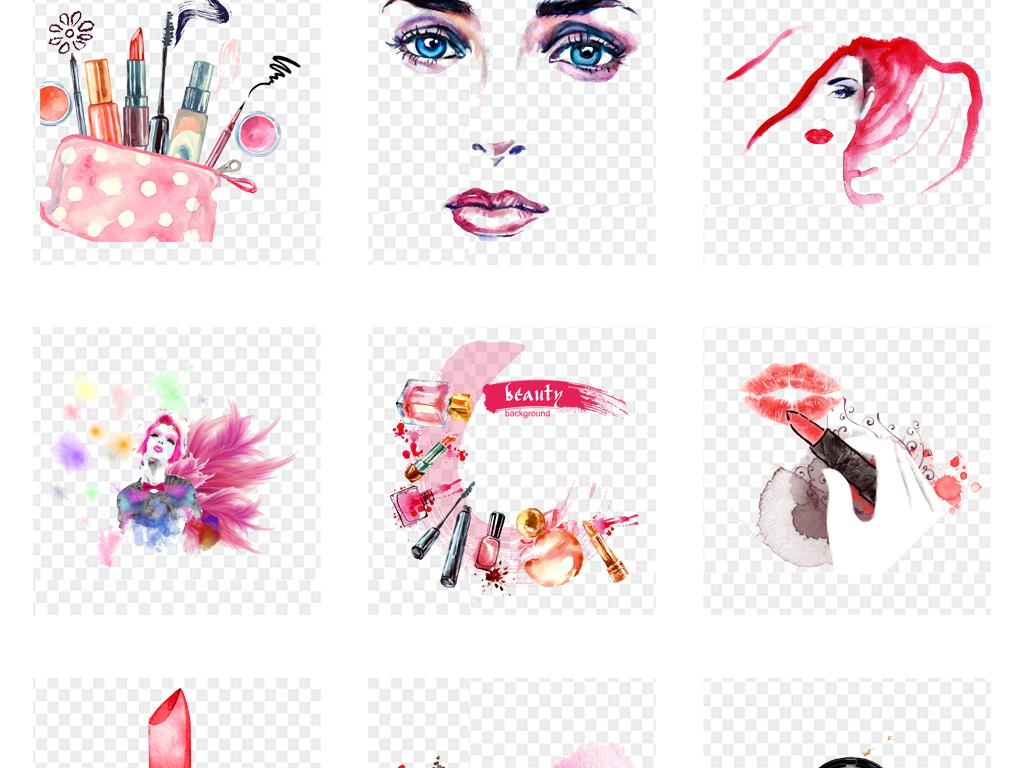 卡通手绘水彩化妆品海报设计png免扣素材