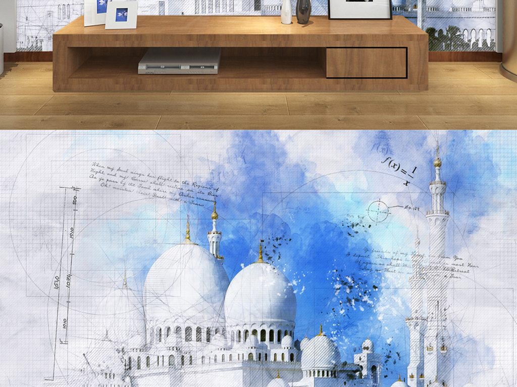 泰姬陵手绘几何线条图片设计素材_高清模板下载(23.)