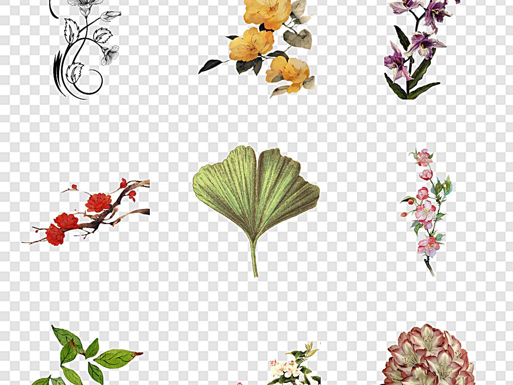 免扣元素 自然素材 花卉 > 古风手绘花花古风古风花藤手绘古风花