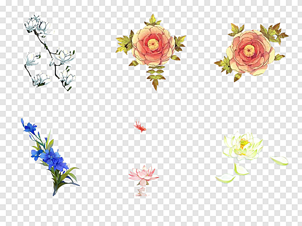 中国风手绘花朵手绘花多彩手绘花朵