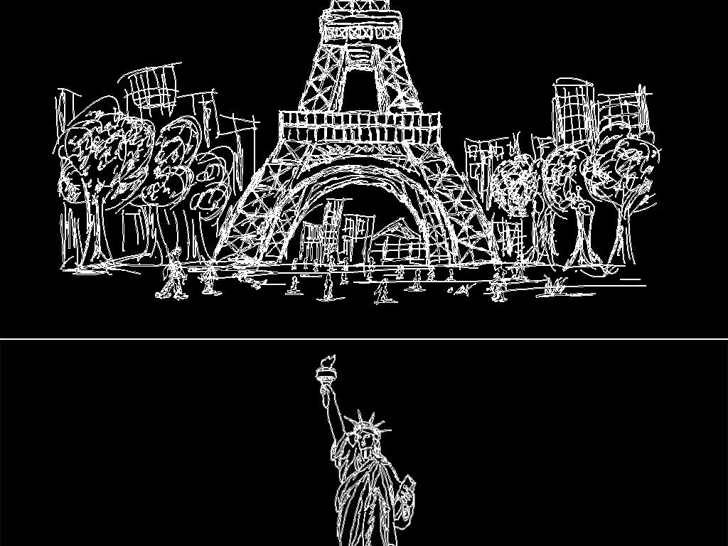手绘世界著名建筑cad雕刻图案平面设计图下载(图片12.