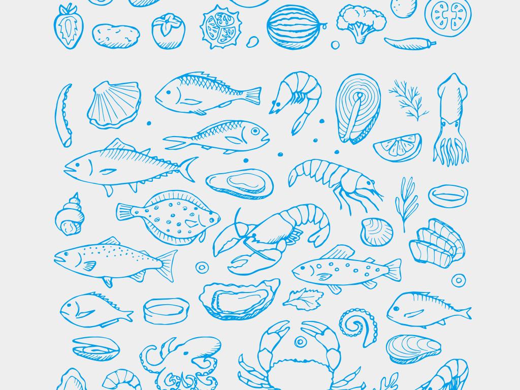 2018时尚复古手绘食材海鲜蔬菜瓜果插图矢量素材