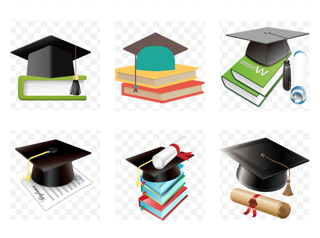 卡通小博士高考毕业博士学士帽毕业照素材
