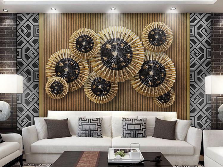 3d立体新中式软包金色荷叶电视背景墙