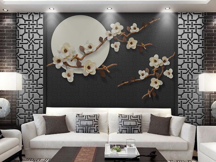新中式3d立体花好月圆花鸟电视背景墙